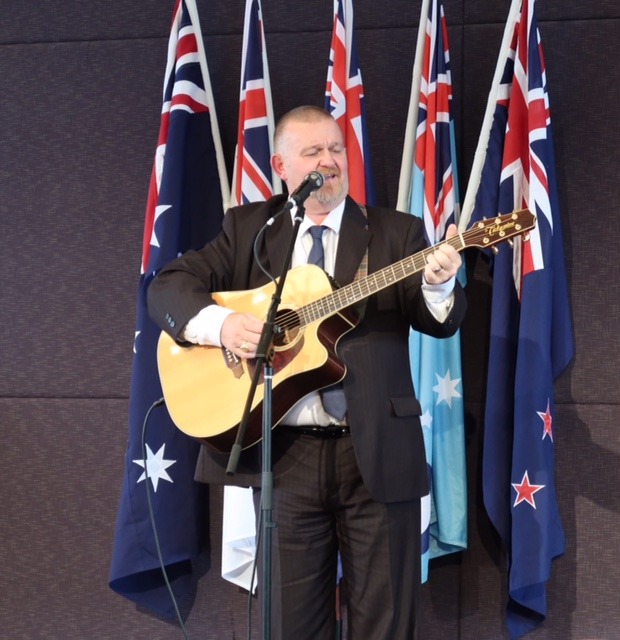 "Eddie sang Slim Dusty's ""Kokoda Track"" and ""Thank You for the Years"""