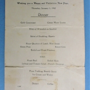 New Years Day Officers Mess Dinner, Thursday 1 January 1942